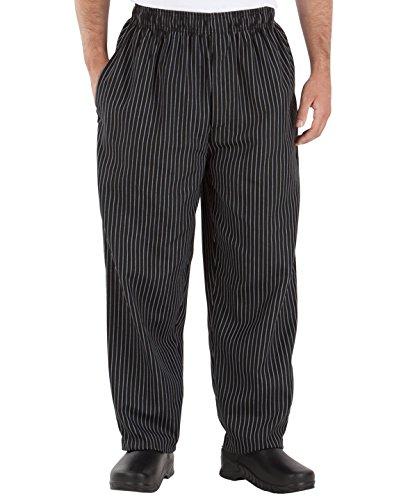 Happy Chef Poly Cotton Print Baggy Pants, 3X-Large, Black Pinstripe Yes HC10-BLKPS-3XL