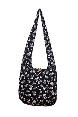 Avarada Cotton Small Hippie Hobo Sling Shoulder Bag Bohemian Bag Skull Black