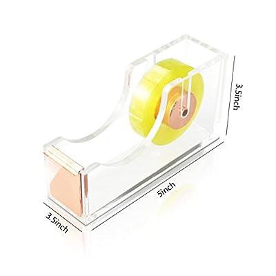 Deluxe Acrylic Design Office Desktop Tape Dispenser Clear Rose Gold
