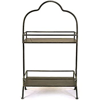 Amazon Com Creative Co Op Wood Two Tier Tray With Metal