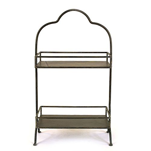 (Creative Co-op Metal Two Tier Tray with Handle, 10.6