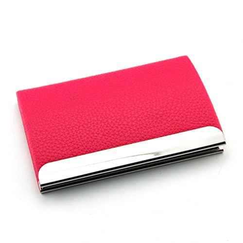 Partstock(TM) Lychee Emboss Pattern PU Leather & Stainless steel Business Name Card Holder Wallet Smooth Leather Credit card ID Case / Holder 22 Name Cards Case For Mens & Ladys with Magnetic Shut.(Rose red)
