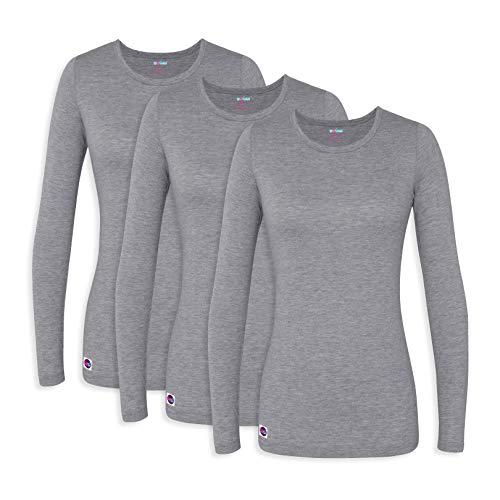 (Sivvan 3 Pack Women's Comfort Long Sleeve T-Shirt/Underscrub Tee - S85003 - Dark Marl Gray - XL)