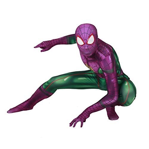 MYanimec Unisex Lycra Spandex Halloween New into The Spider Verse Miles Morales Cosplay Costumes Adult/Kids 3D Style Kids-XS Green -
