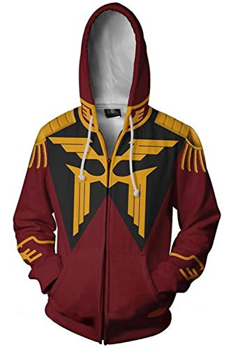 Adult Mens Gundam Char Aznable Amuro Ray Hoodies Sweatershirt Hoodie Coat Zip-up Jacket Gundam Cosplay Costume -