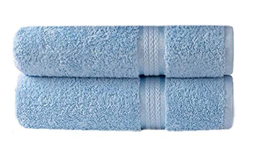 Cotton Craft – 2 Pack Ultra Soft Oversized Extra Large Bath Sheet 35×70 Light Blue – Weighs 33 Ounces – 100% Pure Ringspun Cotton – Luxurious Rayon trim, Ideal for everyday use, Easy care machine wash