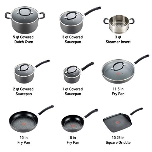 T-fal E918SE Ultimate Hard Anodized Durable Nonstick Expert Interior Thermo-Spot Heat Indicator Anti-Warp Base Dishwasher Safe PFOA Free Oven Safe Cookware Set, 14-Piece, Gray