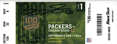 Roquan Smith Signed Chicago Bears vs Packers Ticket Stub NFL Debut BAS