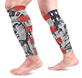 COOSUN Statue of Liberty Calf Compression Sleeves Shin Splint Support Leg Protectors Calf Pain Relief for Running, Cycling, Travel, Sports for Men Women (1 Pair)