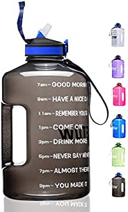 ETDW Gallon Water Bottle with Straw and Time Marker, 128OZ/74OZ BPA Free Huge Water Jug with Handle, Leakproof
