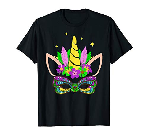 Unicorn and Mask Mardi Gras Shirt Girl Kid Toodler Women