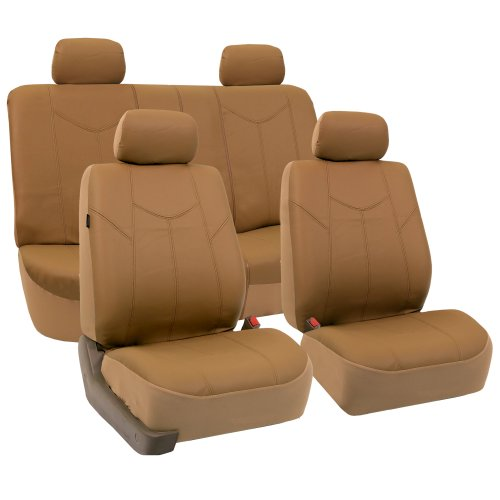 - FH Group FH-PU009114 Rome PU Leather Seat Covers Airbag Ready & Rear Split Tan- Fit Most