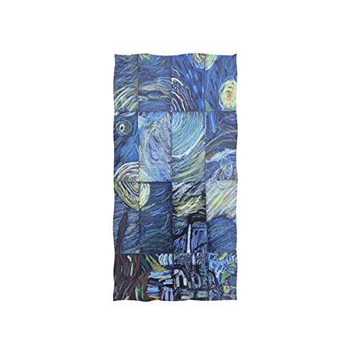 Pingshoes Van Gogh's Starry Night Hand Towels Ultra Soft Luxury Cotton Face Towel Washcloths for Home Kitchen Bathroom Spa Gym Swim Hotel Use