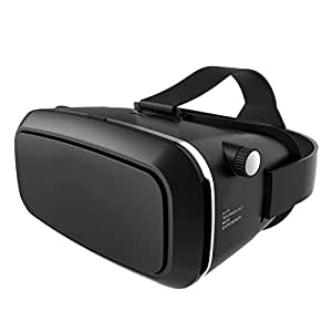 3D VR Virtual Reality Glasses Mozeat Lens for 4.0 - 6.0 inch Smartphone (Focal and Pupil Distance Adjustable Headset ) iPhone Samsung HTC Moto LG Nexus HUAWEI, Black Color