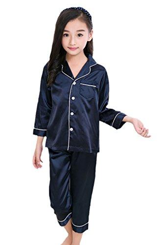 Horcute Pajamas Little Kid Sleepwears Set Pjs Clothes Long Sleeve Navy 170# 11-12Y by Horcute