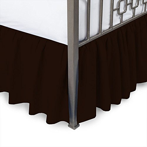 Sleepwell Chocolate Solid, Queen Size Ruffled Bed Skirt 15 inch Drop Split Corner,100 Percent Pure Egyptian Cotton 400 Thread Count, Wrinkle & Fade -