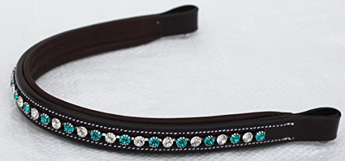 BROWBAND Bling Crystal Horse English Bridle USA Leather Polo Brown (Leather Browband Bridle)