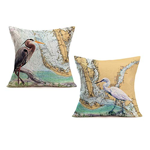 Royalours Throw Pillow Covers Cotton Linen Vintage Ocean Heron Style with World Map Geography Background Decorative Pillow Case Home Sofa Cushion Cover Square 18