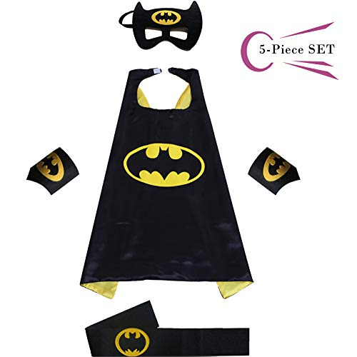 Superhero Dress Capes Set for Kids - Child DIY Superhero Themed Birthday Halloween Party Dress up 5-Pack Set (Batman)