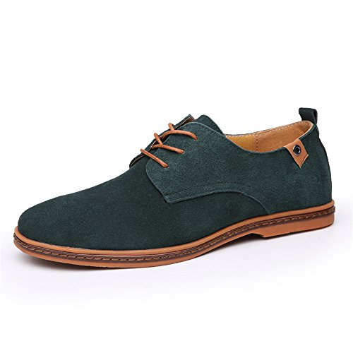SHELAIDON Scarpe Stringate Basse Oxford Uomo, Scarpe di Pelle Uomo, Oxford Shoes Men Verde
