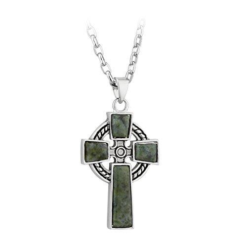 Cross Pendant Rhodium Plated & Connemara Marble by Solvar Ltd. by Tara