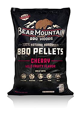 Bear Mountain BBQ 100% All-Natural Hardwood Pellets - Cherry Flavor (20 lb. Bag) Perfect for Pellet Smokers, or Any Outdoor Grill | Mild, Fruity Wood-Fired Flavor
