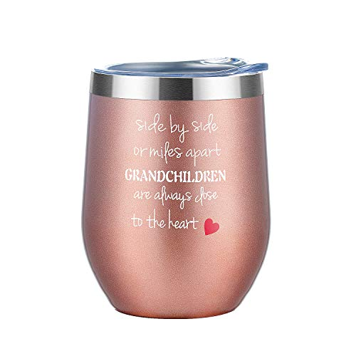 Gifts for Grandparents| Side by Side or Miles Apart Grandchildren are always | Best Grandpa Gifts from Grandson and granddaughter | Happy Funny Gag Goodbye Gift for Grandma, Grandpa, new grandparent