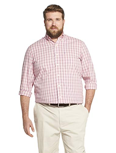 - IZOD Men's Big and Tall Button Down Long Sleeve Stretch Performance Plaid Shirt, Rapture Rose 1, 3X-Large