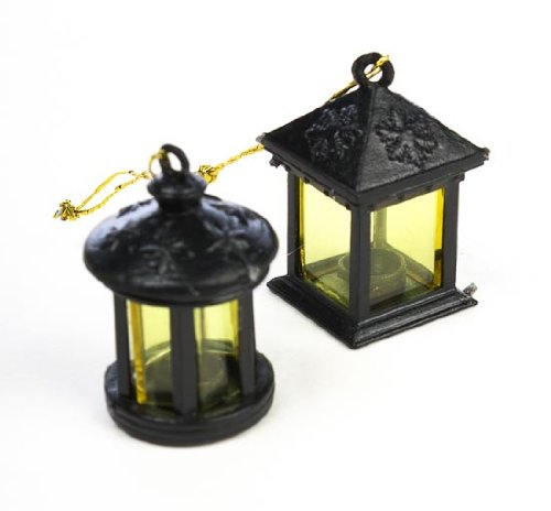 (Set of 8 Assorted Adorable Miniature Black Lanterns for Dollhouses, Fairy Gardens, and Crafting )