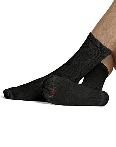 hanes-mens-10-pack-ultimate-cushion-crew-socks-blackshoe-size-6-12