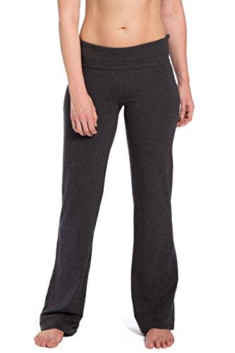 Fishers Finery Women's EcoFabric Foldover Yoga Pants (H Gray, L Petite)