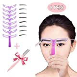 Best Eyebrow Shapes - Eyebrow Stencils,8 Styles Eyebrow Shapes DIY Eyebrows Grooming Review