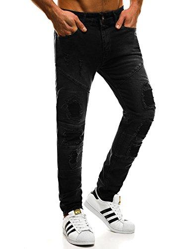 OZONEE Hombre Pantalones Vaqueros Pantalón Chándal Pantalones Deportivos Pantalones de Ocio Pantalón chándal Jogger Otantik 1805 Negro _ Ozonee _ Tac-at004