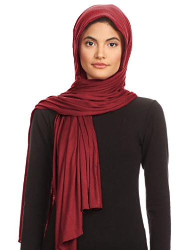 Rayon Scarf Jersey - Abeelah Jersey Hijab Scarf - Made in the USA - Islamic, Muslim, African and Indian Fashion Compatible Burgundy,Large