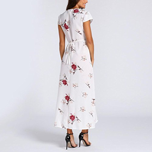 Boheme Robes Longue Dress Plage Robe V t Casual Imprim Col Femme Maxi Blanc Cocktail LONUPAZZ Maxi Fleurs Bodycon wHqzvv