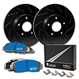 Max Brakes Front E-Coated Slotted Drilled Rotors w/M1 Brake Pads Supreme Brake Kit KM045381 | Fits: 2014 14 2015 15 Fits Nissan Rouge Select
