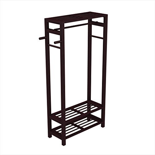 Stony-Edge Wood Coat & Shoe Garment Rack and Hat Stand for Hallway or Front Door Entryway - Free-Standing Clothing Rail Hanger - Easy to Assemble - -