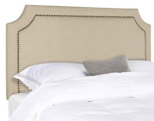 Safavieh Shayne Hemp Linen Upholstered Headboard - Brass Nailhead (Notched Full Headboard)