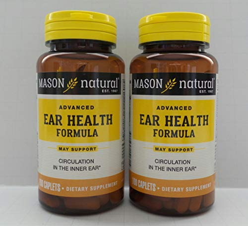 Mason Natural Advance Ear Health Formula Bioflavonoids Plus 100 Caplets per Bottle Pack of 2 Total 200 Caplets by Mason Vitamins ()