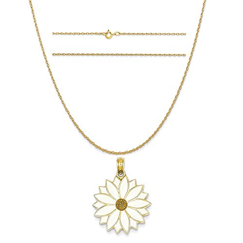 14k Yellow Gold Enameled White Daisy Flower Pendant on 14K Yellow Gold Rope Chain Necklace, - Enameled Gold Daisy