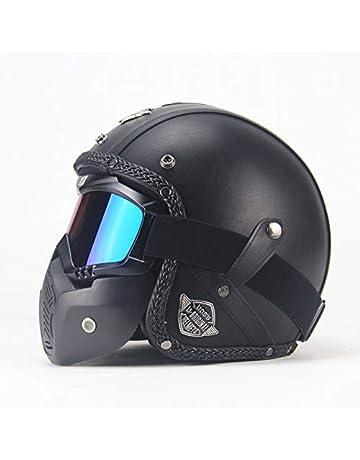 c2c6c2ed2e9 ETbotu Unisex PU Leather Helmets 3 4 Motorcycle Chopper Bike Helmet Open  Face Vintage Motorbike