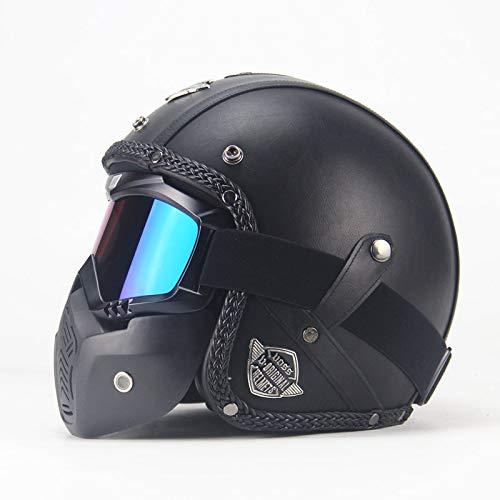 (Ocamo Unisex PU Leather Helmets 3/4 Motorcycle Chopper Bike Helmet Open Face Vintage Motorcycle Helmet with Goggle Mask black M)