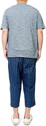 セットアップ メンズ 大きいサイズ 和柄 半袖 ヘンリーネック Tシャツ 7分丈 クロップドパンツ 鹿の子 上下 ルームウェア