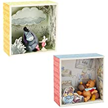 Hallmark (2 Piece Winnie The Pooh Disney Figurines Sets Collectibles Piglet and Eeyore Shadow Box Figures