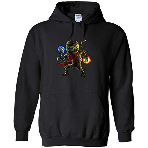 (Mummy Cartoon Character Logo Hoodie Halloween Art Jumper Pullover Hooded Fleece Sweatshirt Adult Humor Joke)