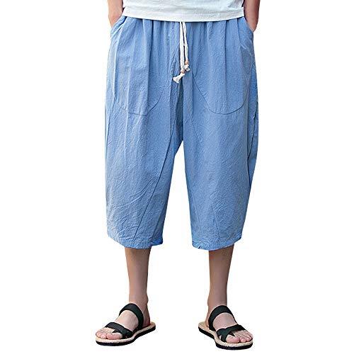 TOTOD Classic Mens Harem Pants Loose Linen Capris Elastic Waist Big Pockets Casual Teen Relaxed Fit Calf-Length Shorts Sky Blue