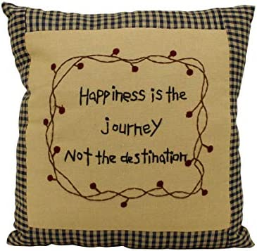 CVHOMEDECO. Rustic Happiness is The Journey not The Destination Embroidered Throw Pillow with Berry Vine Decorative Accent. 10 x 10 Inch