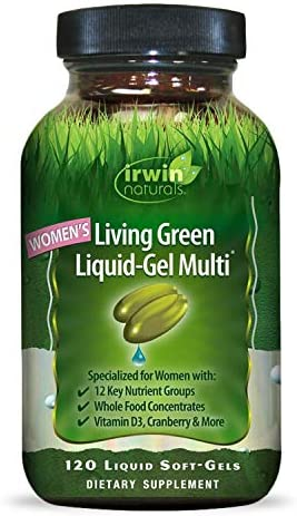 Irwin Naturals Women s Living Green Liquid-Gel Multi Vitamin – 70 Essential Nutrients, Full-Spectrum Vitamins, Wholefood Blend – Targeted Adrenal Brain Support – 120 Liquid Softgels