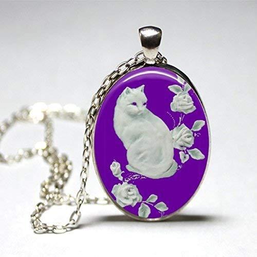 Purple Cat Necklace Handmade Kitty Oval Pendant - Decoupage Under Glass -