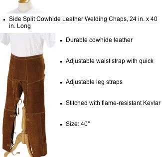 "Black Stallion 40WS 40"" Side Split Cowhide Split-Leg Apro..."